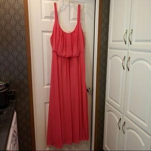 Avenue Pink Flowy Elastic Waist Maxi Dress - 28